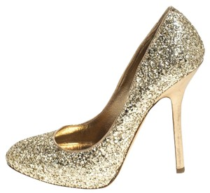 Miu Miu Metallic Glitter Platform Gold Pumps