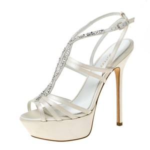 Sergio Rossi Satin Embellished Leather Strappy Platform Cream Sandals
