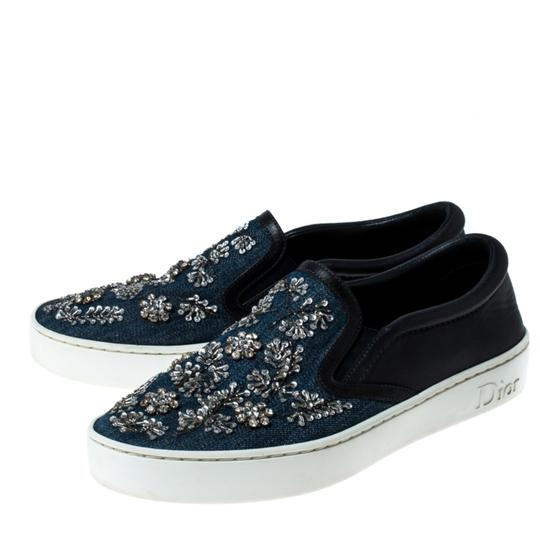 Dior Canvas Leather Embroidered Blue Athletic Image 3