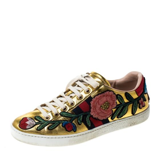 Preload https://img-static.tradesy.com/item/26362448/gucci-gold-metallic-leather-ace-floral-web-lace-up-sneakers-size-eu-365-approx-us-65-regular-m-b-0-0-540-540.jpg