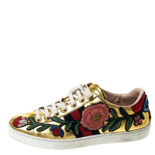 Gucci Metallic Leather Gold Athletic Image 1