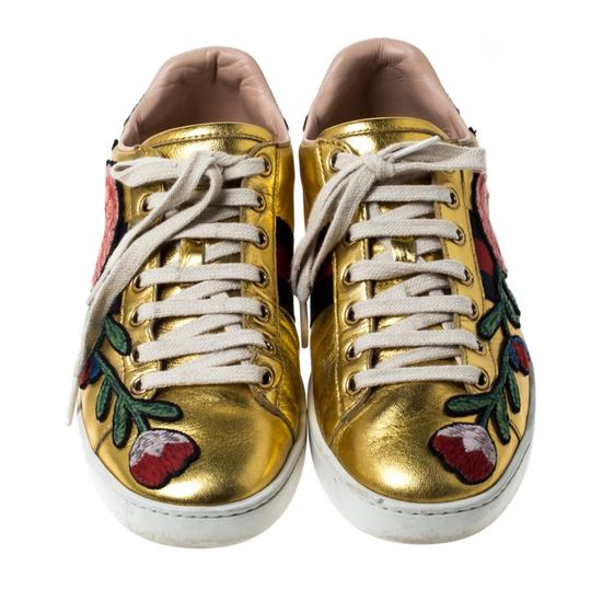 Gucci Metallic Leather Gold Athletic Image 2
