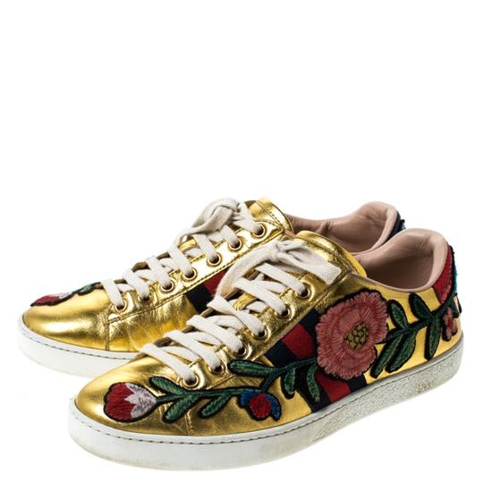 Gucci Metallic Leather Gold Athletic Image 4