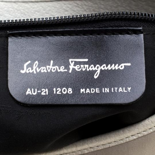 Salvatore Ferragamo Leather Canvas Shoulder Bag Image 9
