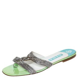 Gina Peters Metallic Silver Leather Crystal Embellished Green Flats