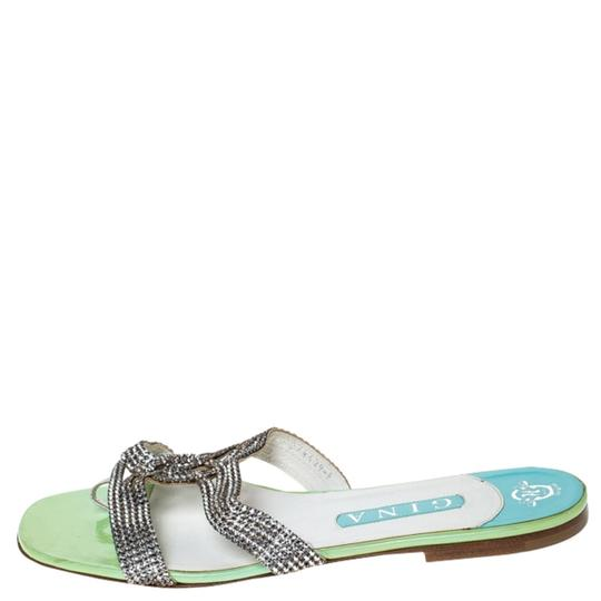 Gina Peters Metallic Silver Leather Crystal Embellished Green Flats Image 1