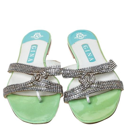 Gina Peters Metallic Silver Leather Crystal Embellished Green Flats Image 2