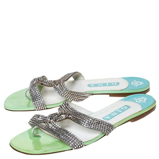 Gina Peters Metallic Silver Leather Crystal Embellished Green Flats Image 3