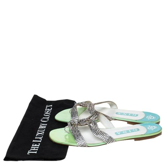 Gina Peters Metallic Silver Leather Crystal Embellished Green Flats Image 7