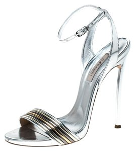 Casadei Metallic Leather Ankle Strap Silver Sandals