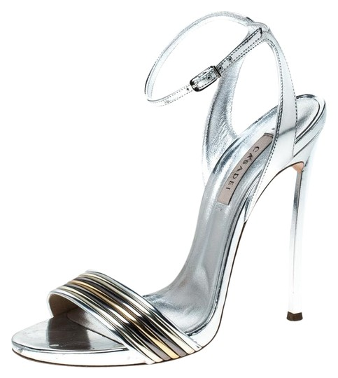 Casadei Metallic Leather Ankle Strap Silver Sandals Image 0
