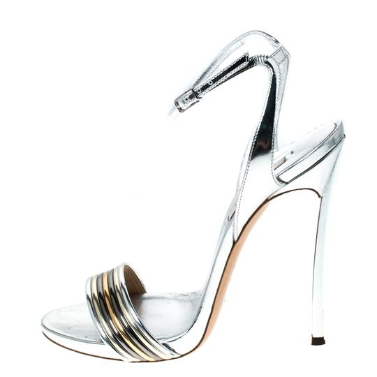 Casadei Metallic Leather Ankle Strap Silver Sandals Image 1