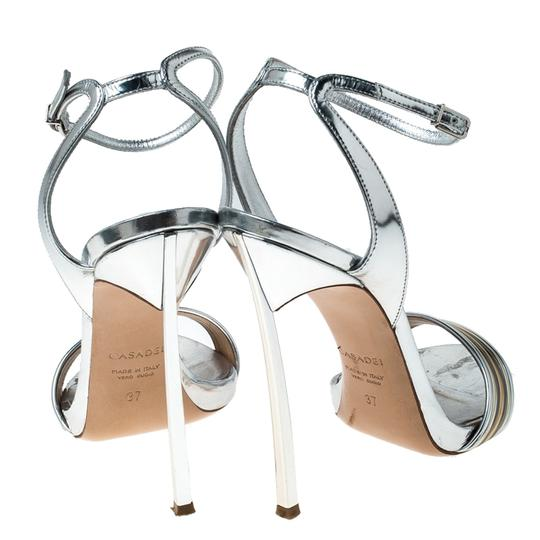 Casadei Metallic Leather Ankle Strap Silver Sandals Image 3