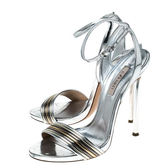 Casadei Metallic Leather Ankle Strap Silver Sandals Image 4