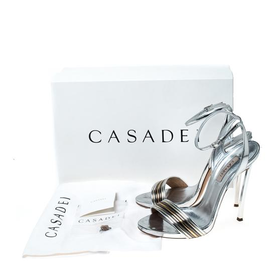 Casadei Metallic Leather Ankle Strap Silver Sandals Image 7