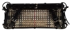 Burberry Leather Canvas Studded Black Clutch