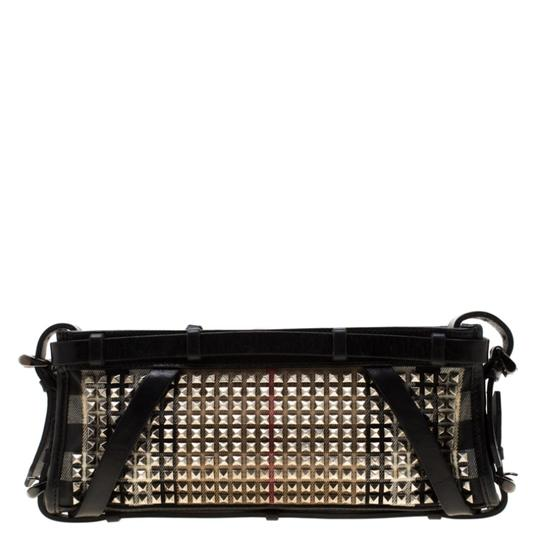 Burberry Leather Canvas Studded Black Clutch Image 1