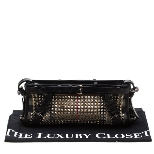 Burberry Leather Canvas Studded Black Clutch Image 11