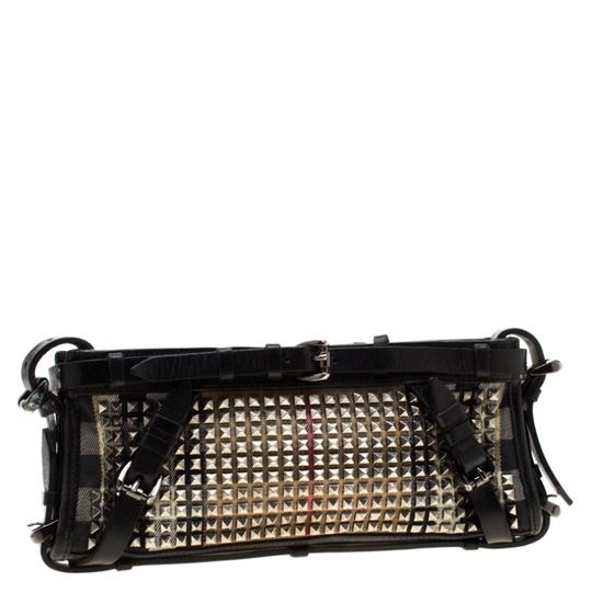 Burberry Leather Canvas Studded Black Clutch Image 3