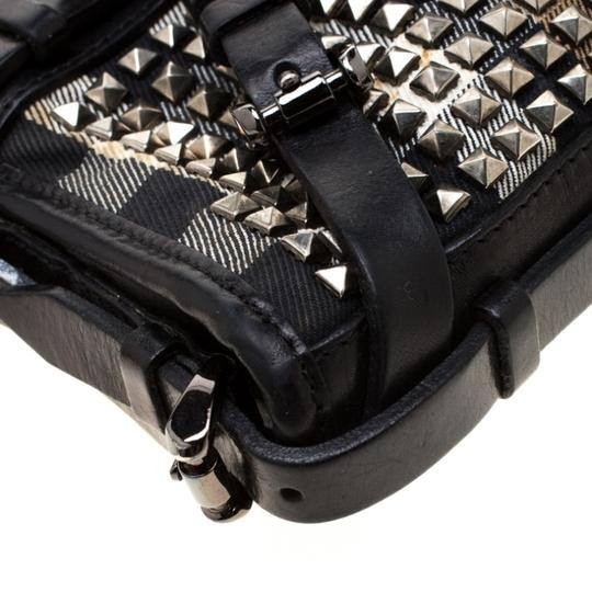 Burberry Leather Canvas Studded Black Clutch Image 7
