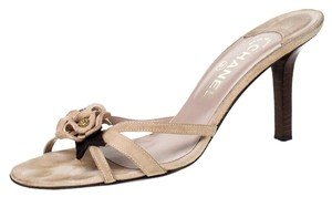 Chanel Suede Detail Camellia Beige Sandals