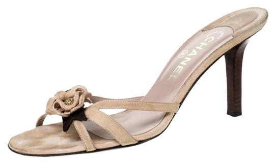 Chanel Suede Detail Camellia Beige Sandals Image 0