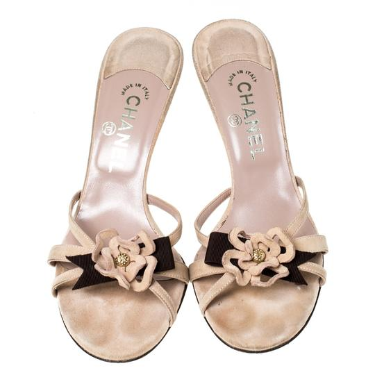 Chanel Suede Detail Camellia Beige Sandals Image 2