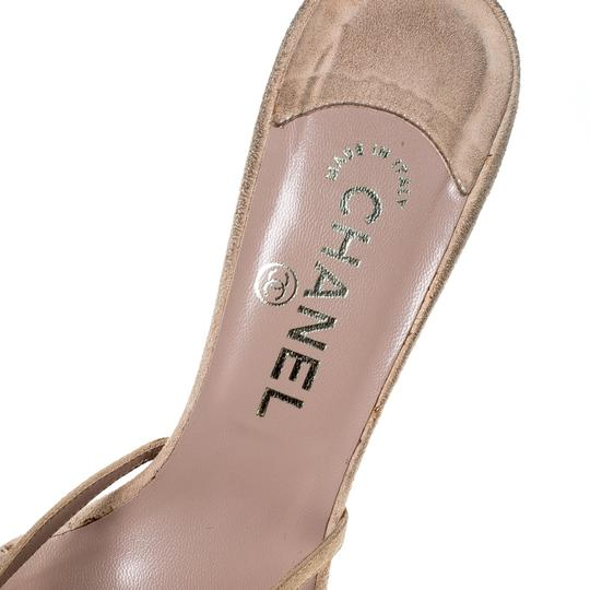 Chanel Suede Detail Camellia Beige Sandals Image 5