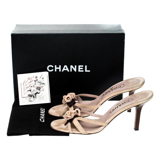 Chanel Suede Detail Camellia Beige Sandals Image 7