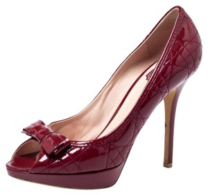 Dior Patent Leather Cannage Peep Toe Quilt Red Pumps
