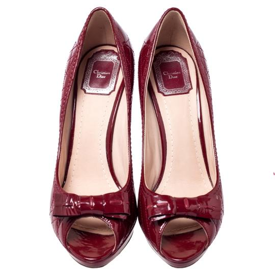 Dior Patent Leather Cannage Peep Toe Quilt Red Pumps Image 2
