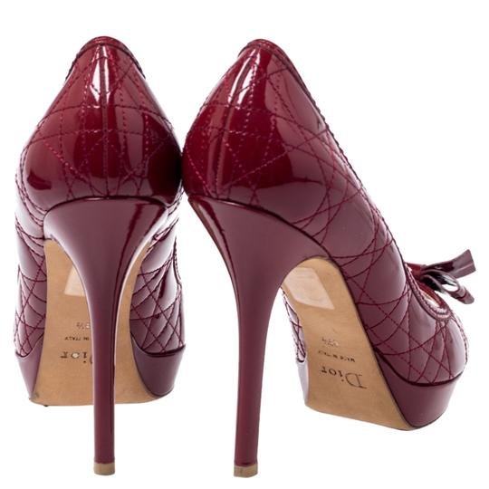 Dior Patent Leather Cannage Peep Toe Quilt Red Pumps Image 3
