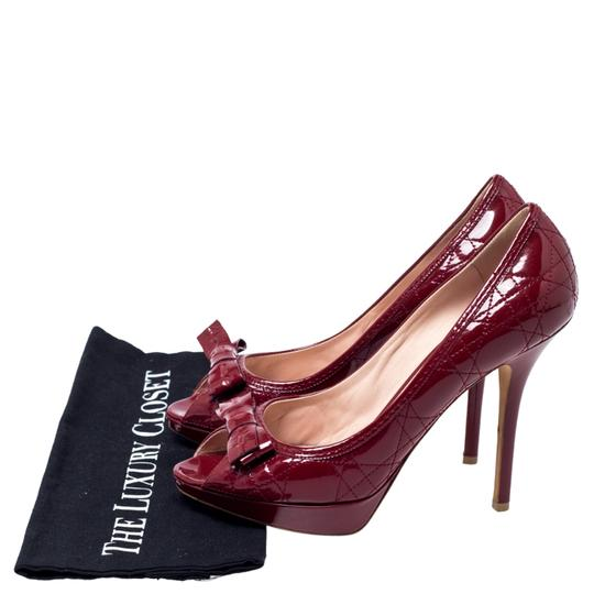 Dior Patent Leather Cannage Peep Toe Quilt Red Pumps Image 7