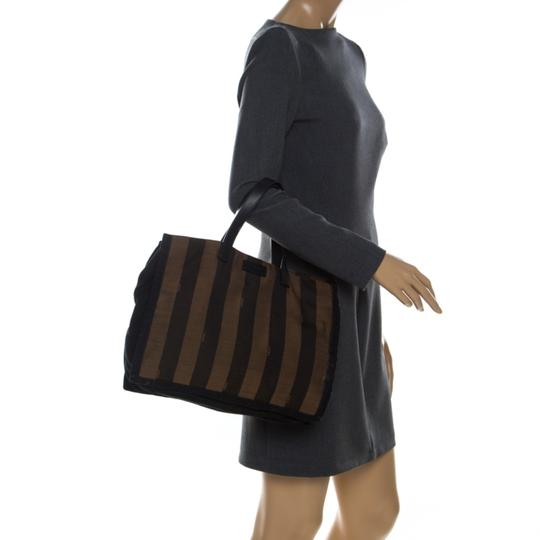 Fendi Canvas Leather Tote in Brown Image 2