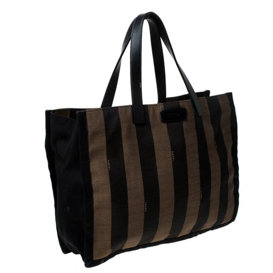 Fendi Canvas Leather Tote in Brown Image 3