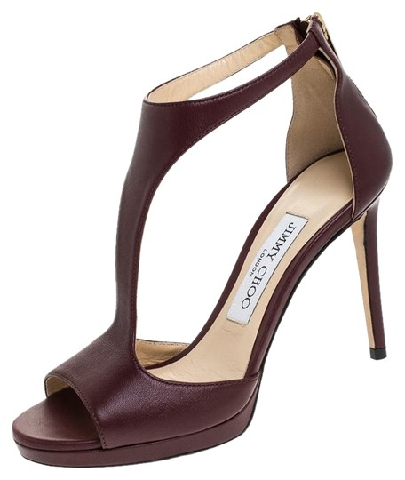 Jimmy Choo Leather Lana T Strap Burgundy Sandals Image 0