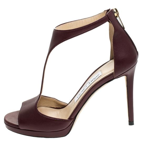 Jimmy Choo Leather Lana T Strap Burgundy Sandals Image 1