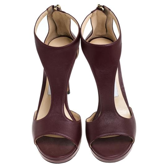 Jimmy Choo Leather Lana T Strap Burgundy Sandals Image 2