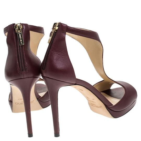 Jimmy Choo Leather Lana T Strap Burgundy Sandals Image 3