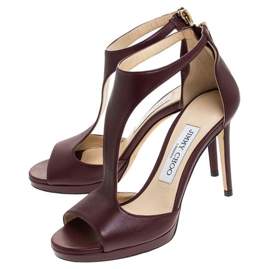 Jimmy Choo Leather Lana T Strap Burgundy Sandals Image 4