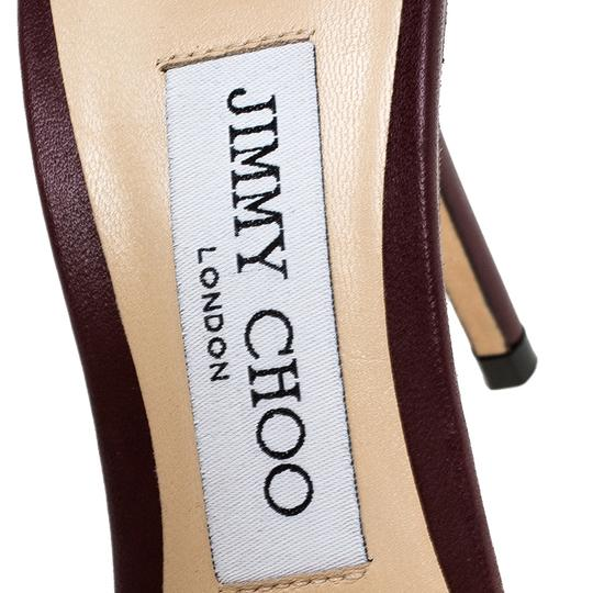 Jimmy Choo Leather Lana T Strap Burgundy Sandals Image 5