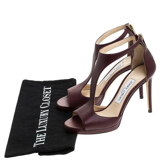 Jimmy Choo Leather Lana T Strap Burgundy Sandals Image 7