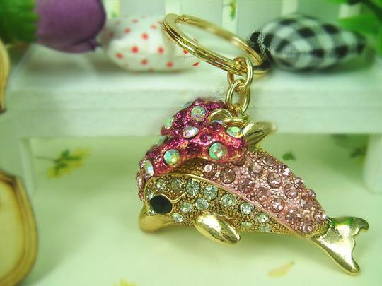 Other Dolphin and Butterfly Crystal Key Ring Image 1