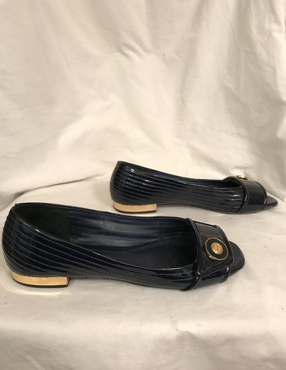 Tory Burch Patent Leather Open Toe Peep Toe Leather Quilted Blue gold Flats Image 5