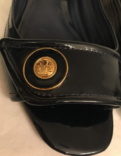 Tory Burch Patent Leather Open Toe Peep Toe Leather Quilted Blue gold Flats Image 8