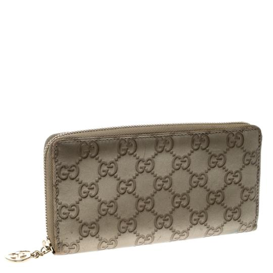 Gucci Gucci Gold Guccissima Leather Zip Around Wallet Image 2