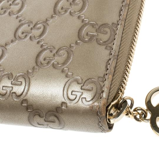 Gucci Gucci Gold Guccissima Leather Zip Around Wallet Image 9