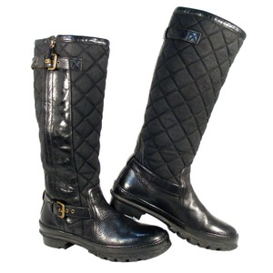 Ralph Lauren Collection Purple Label Tall Quilted Rubber Winter Black Boots