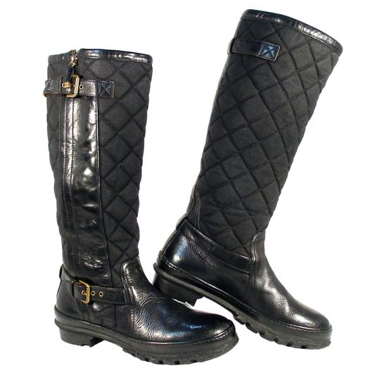Ralph Lauren Collection Purple Label Tall Quilted Rubber Winter Black Boots Image 0