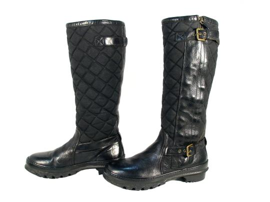 Ralph Lauren Collection Purple Label Tall Quilted Rubber Winter Black Boots Image 1